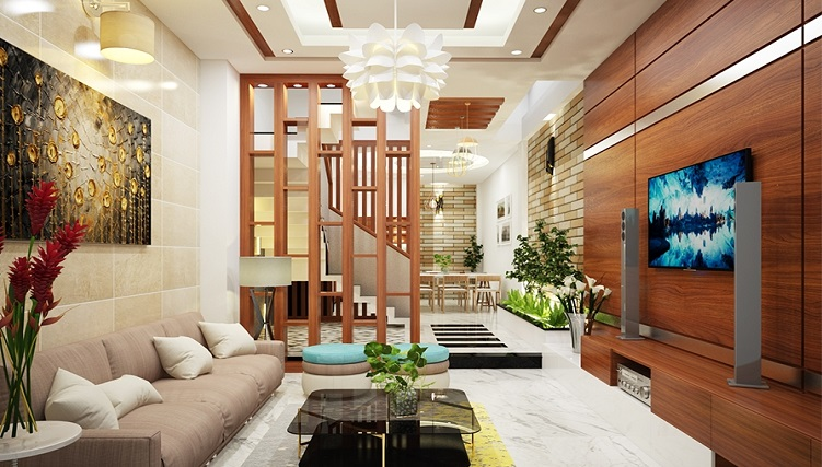 Top 10 phòng khách nhà ống 5m đẹp-5