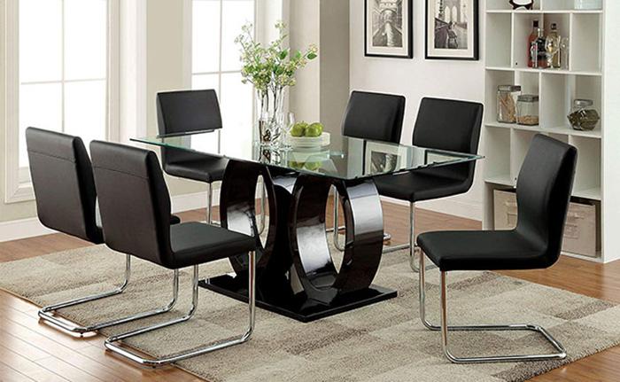 Mẫu bàn ăn mặt kính hiện đại có 10 ghế