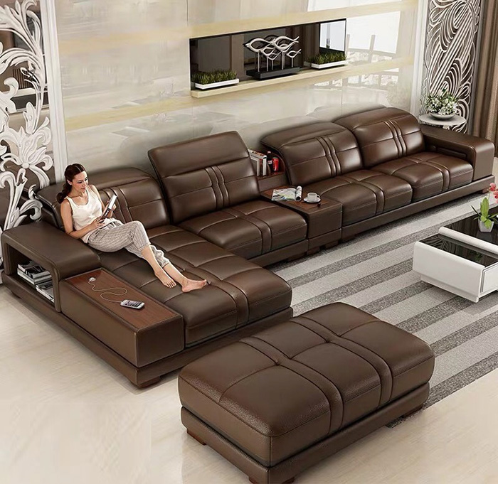 Sofa bọc da cao cấp đẹp phòng khách