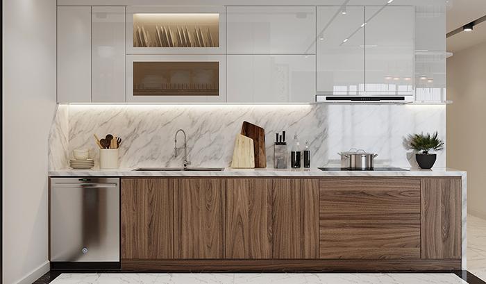 Tủ bếp gỗ Acrylic TB002