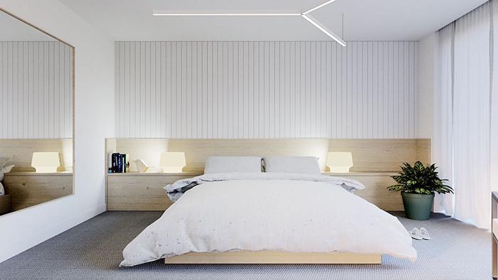 Trang trí phòng ngủ với gỗ và ánh đèn