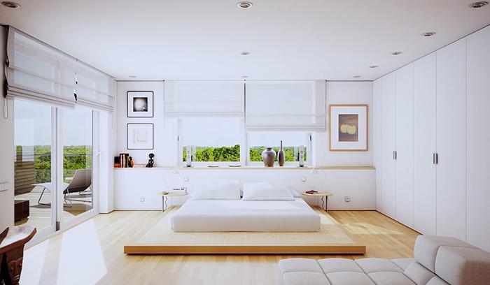 Phòng ngủ tối giản với ánh sáng tự nhiên